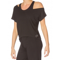 Papillon PA2240 Zwarte Korte Top met Boothals off-shoulder model